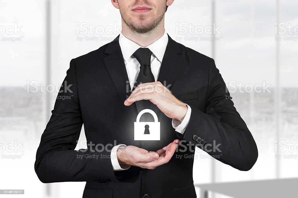 lock security businessman protect office stock photo