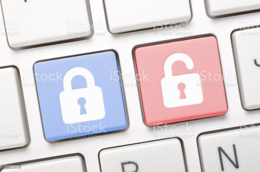 Lock symbol key on keyboard royalty-free stock photo