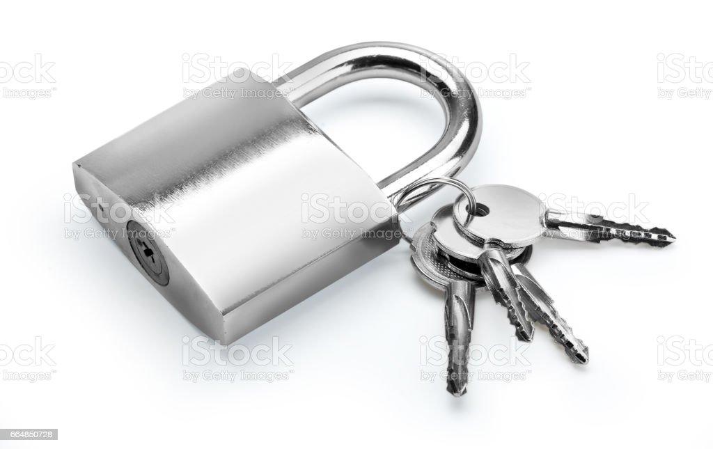 Lock with key on white stock photo