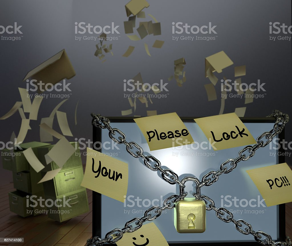 Lock Your Workstation! stock photo