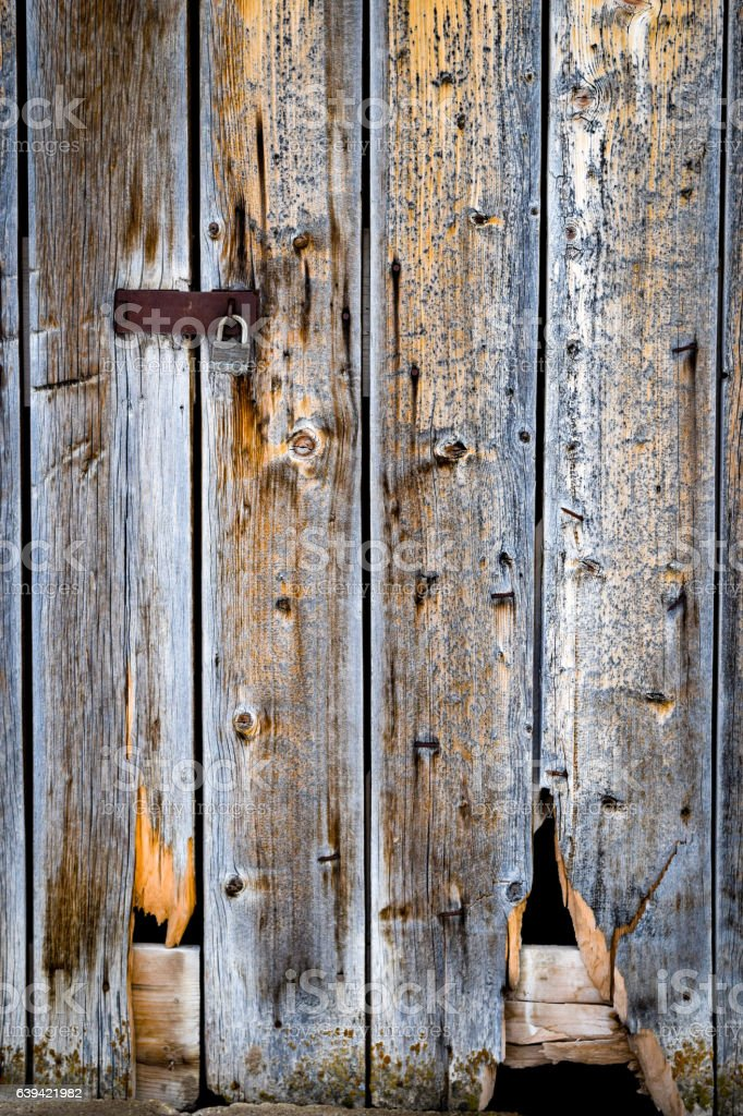 Locked barn door stock photo