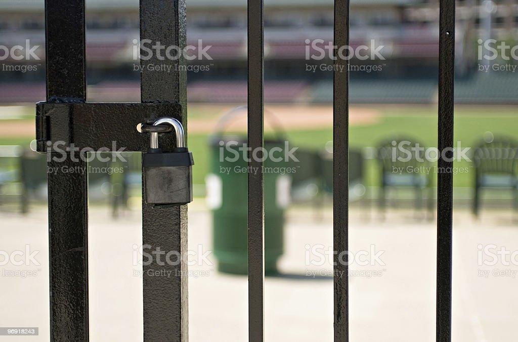 Locked Baseball Gate stock photo