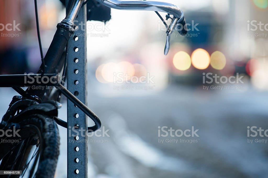 locked bike stock photo
