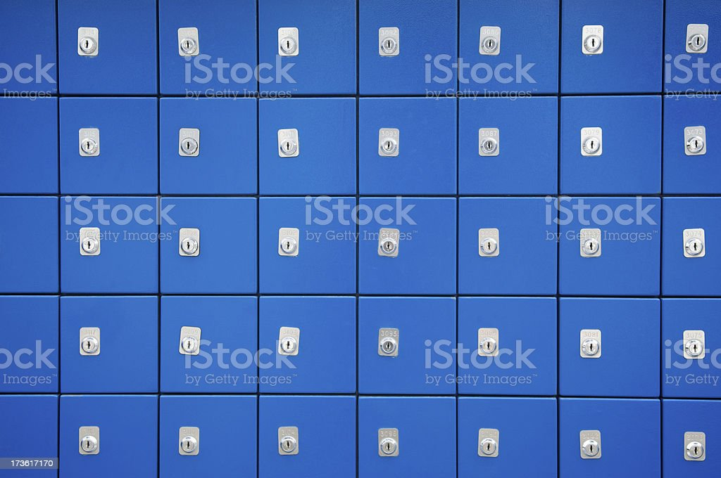 Locked Boxes Bright Blue royalty-free stock photo