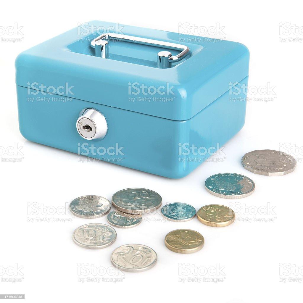 Locked cash box with Australian coins royalty-free stock photo
