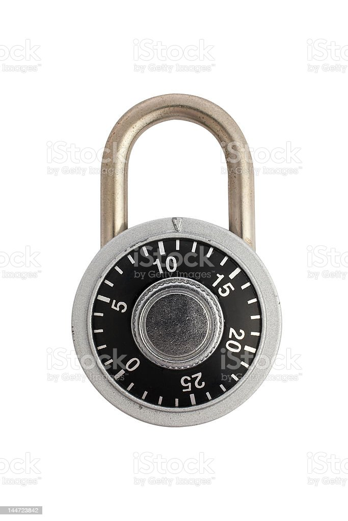 Locked combination padlock stock photo