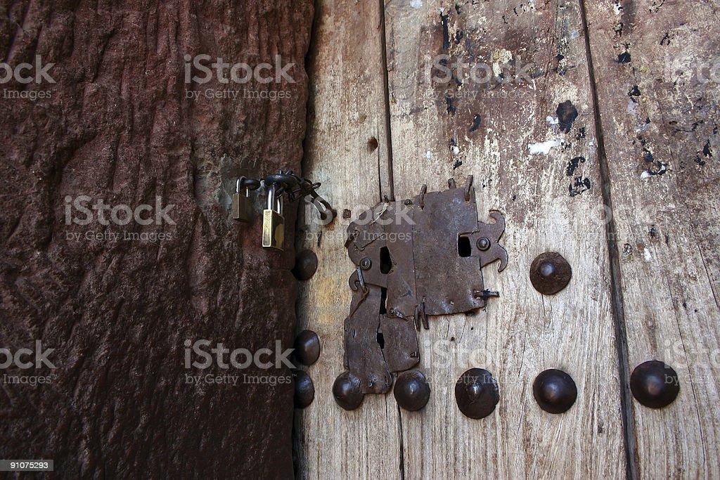 Locked door stock photo
