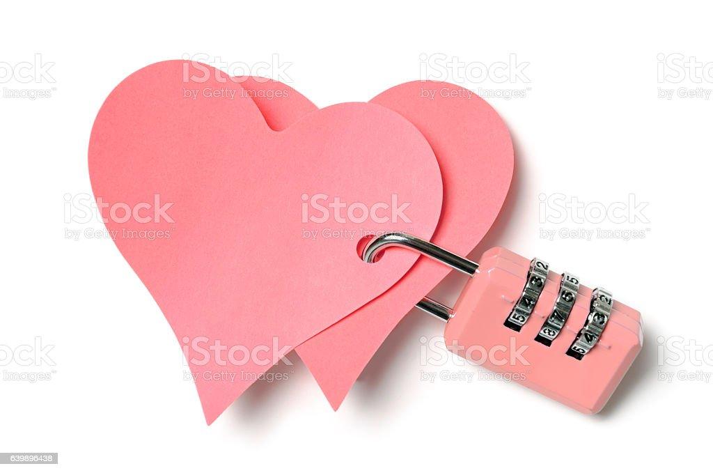 Locked hearts stock photo