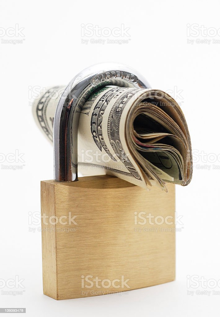 Locked Money stock photo