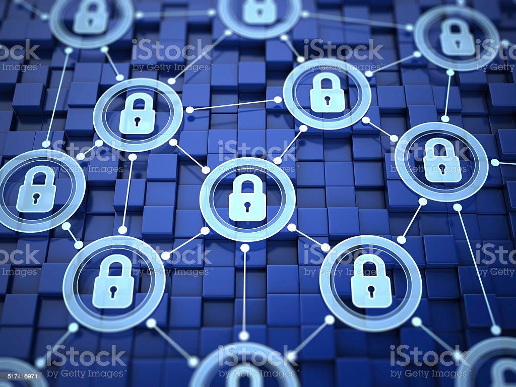 Locked network concept stock photo