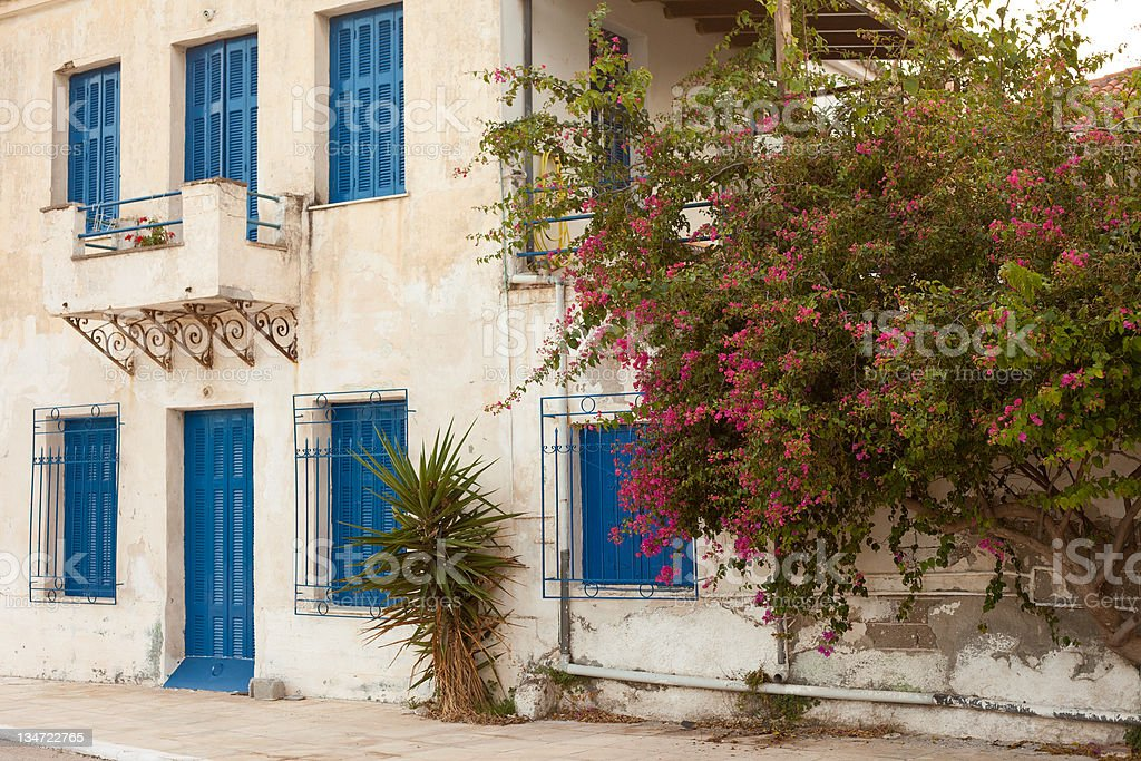 Locked old house in Greece royalty-free stock photo