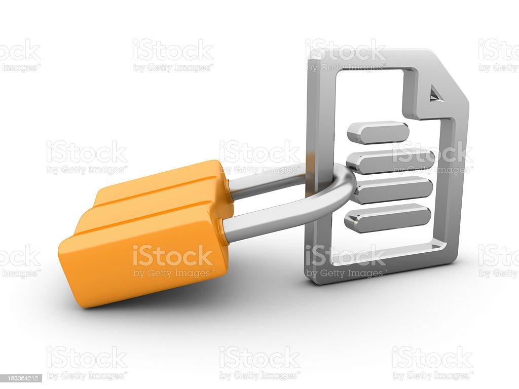 Locked Padlock with File Icon royalty-free stock photo
