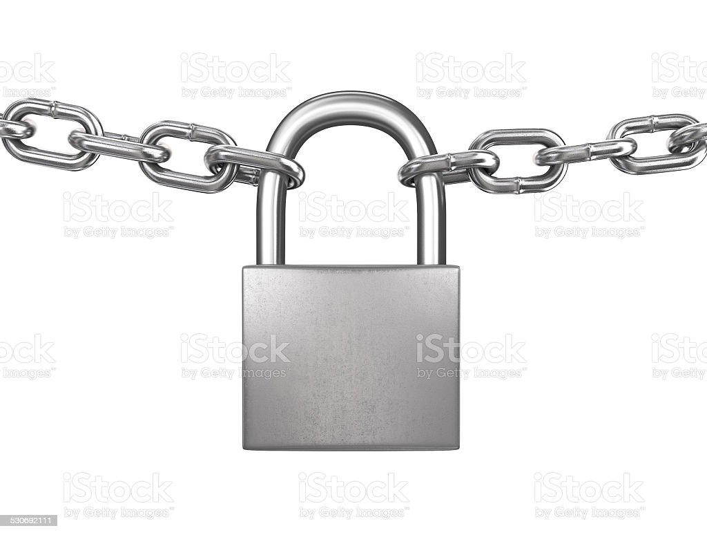 Locked padlock with silver chains isolated on white background stock photo