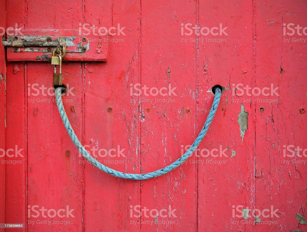 Locked red door. stock photo