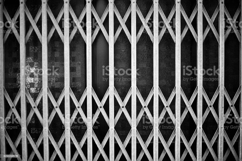 Locked steel door stock photo