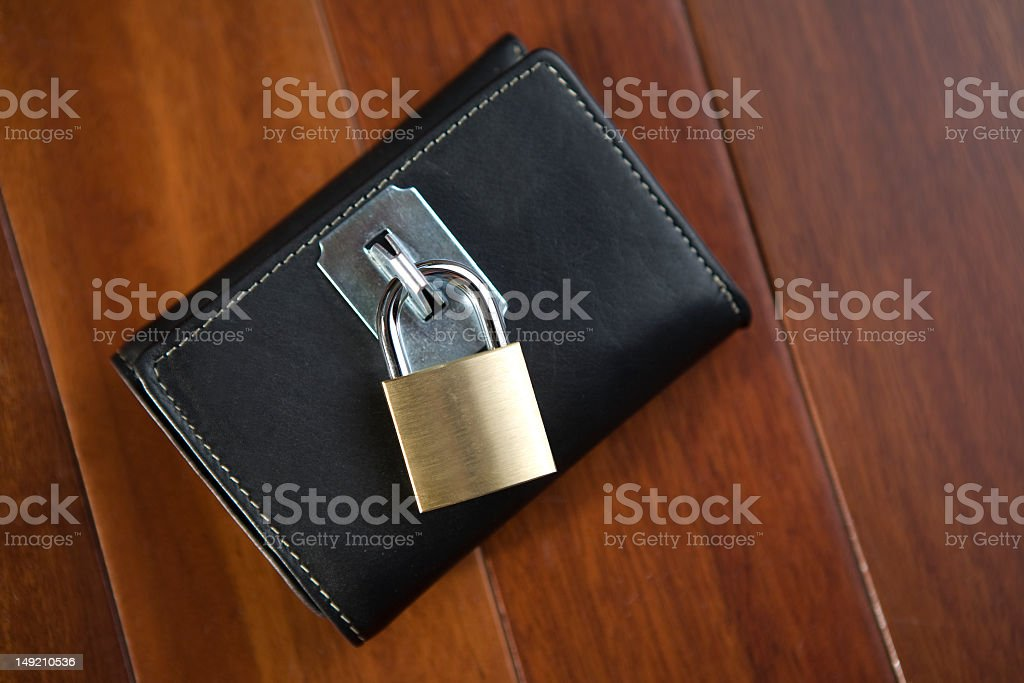 locked wallet stock photo