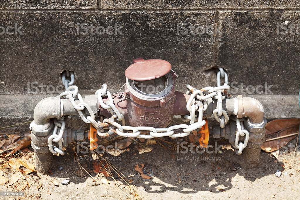 Locked water pipe and meter stock photo