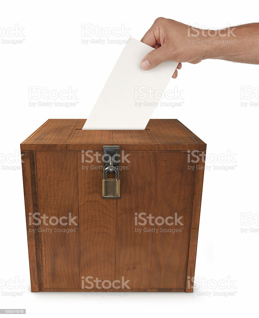 Locked wooden ballot box for election royalty-free stock photo