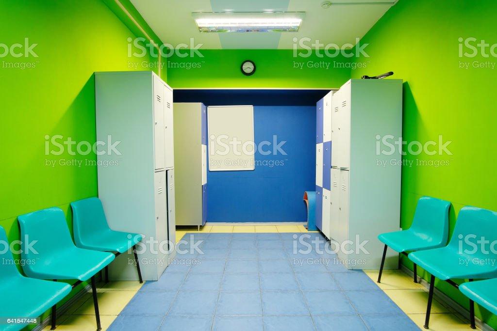 Locker room in fitness club stock photo