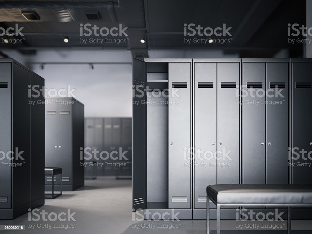 Locker room in modern loft interior. 3d rendering stock photo
