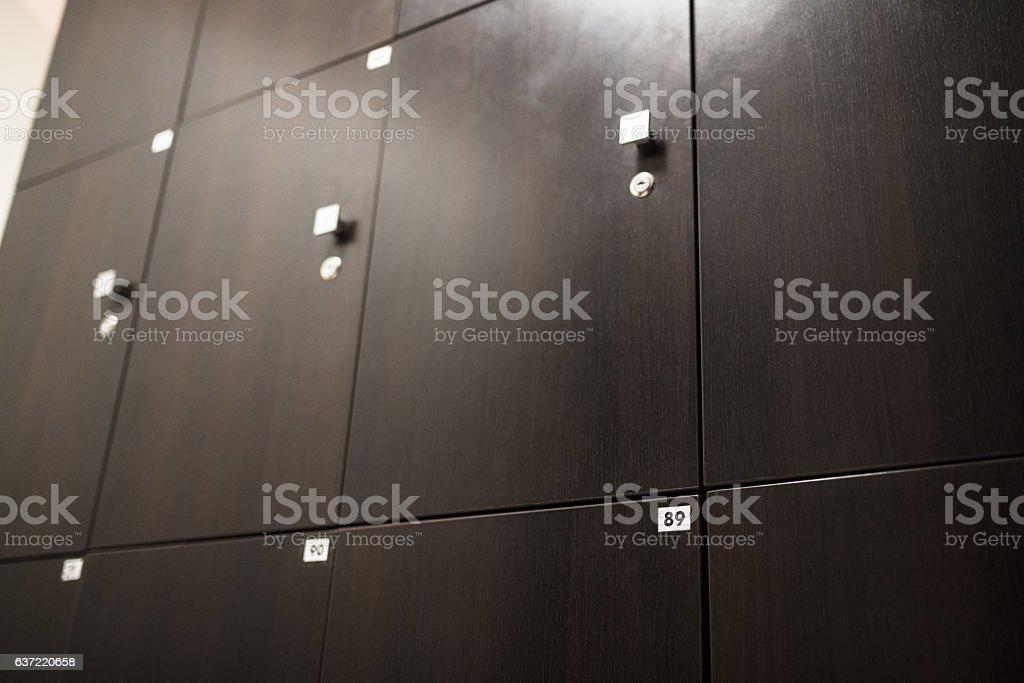 Lockers at gym stock photo
