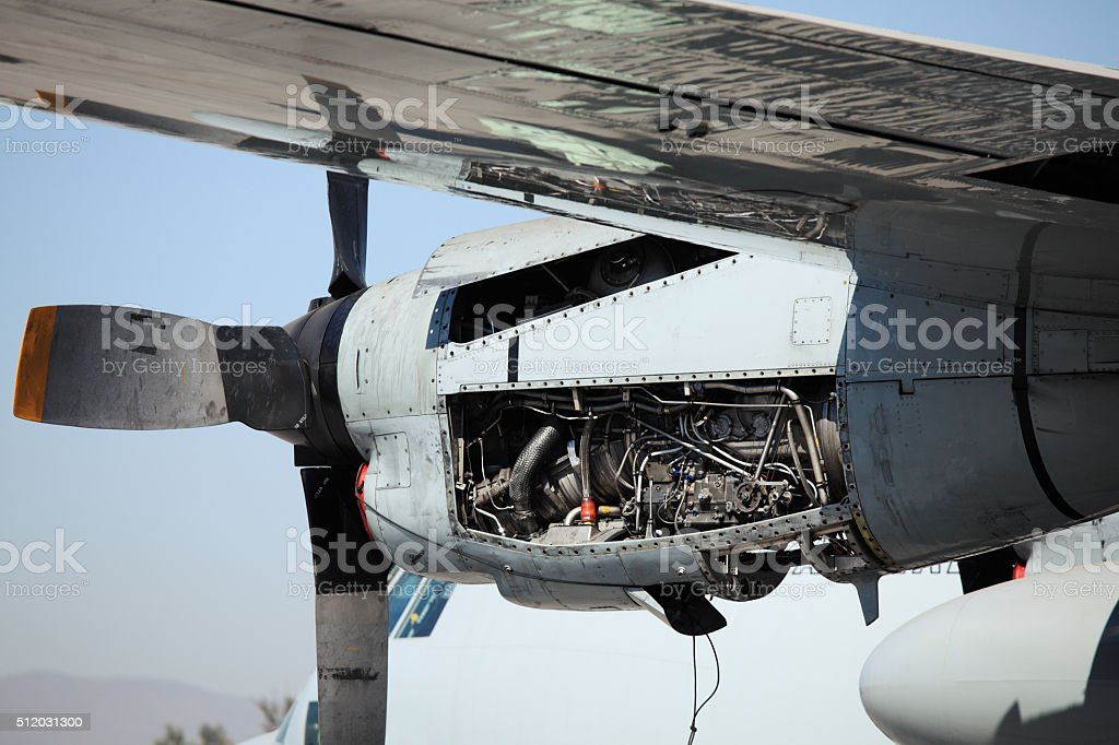 Lockheed C-130 Hercules Motor Detail stock photo