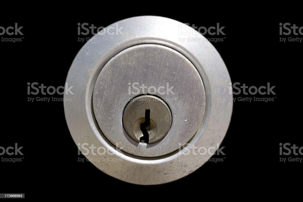 Lock/Keyhole on Black stock photo