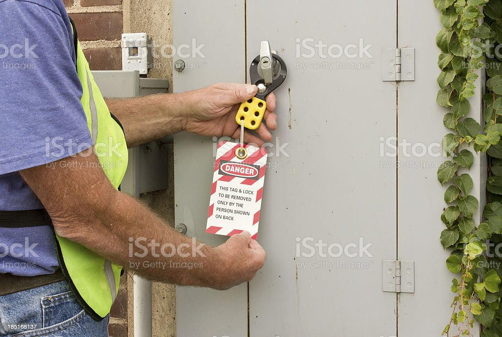 lockout tag stock photo