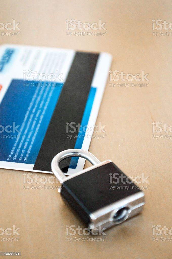 Lock/Padlock on a Credit/Debit Card royalty-free stock photo