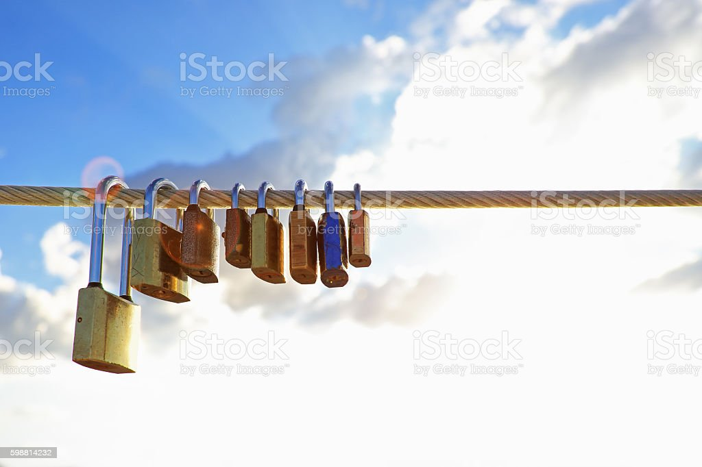 Locks Is Hanging On Metal Chain stock photo
