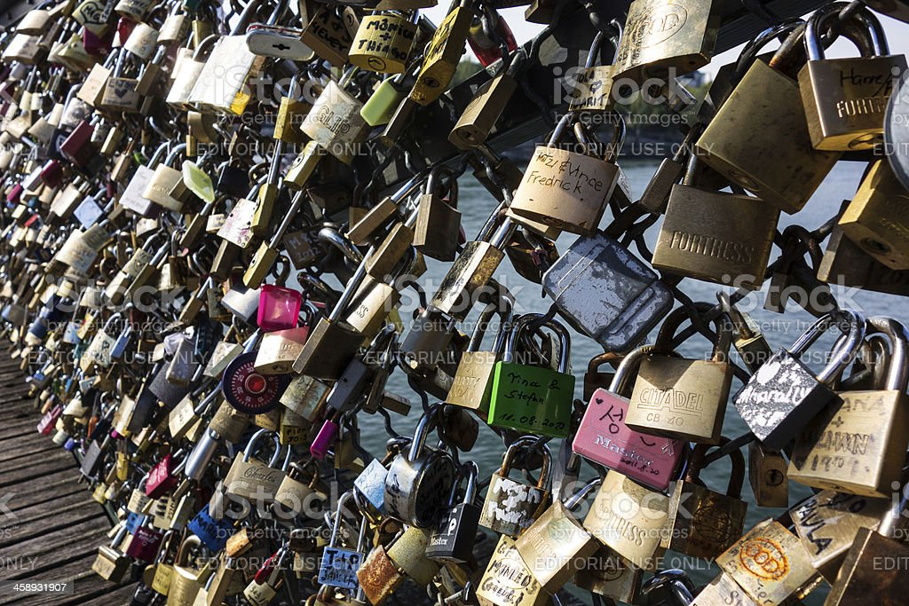 Locks of Love on Pont Des Art Bridge stock photo