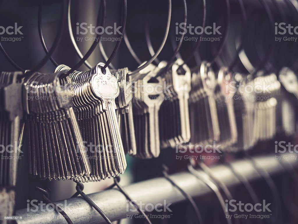 Locksmith Key shop Business many keychains in bunches stock photo