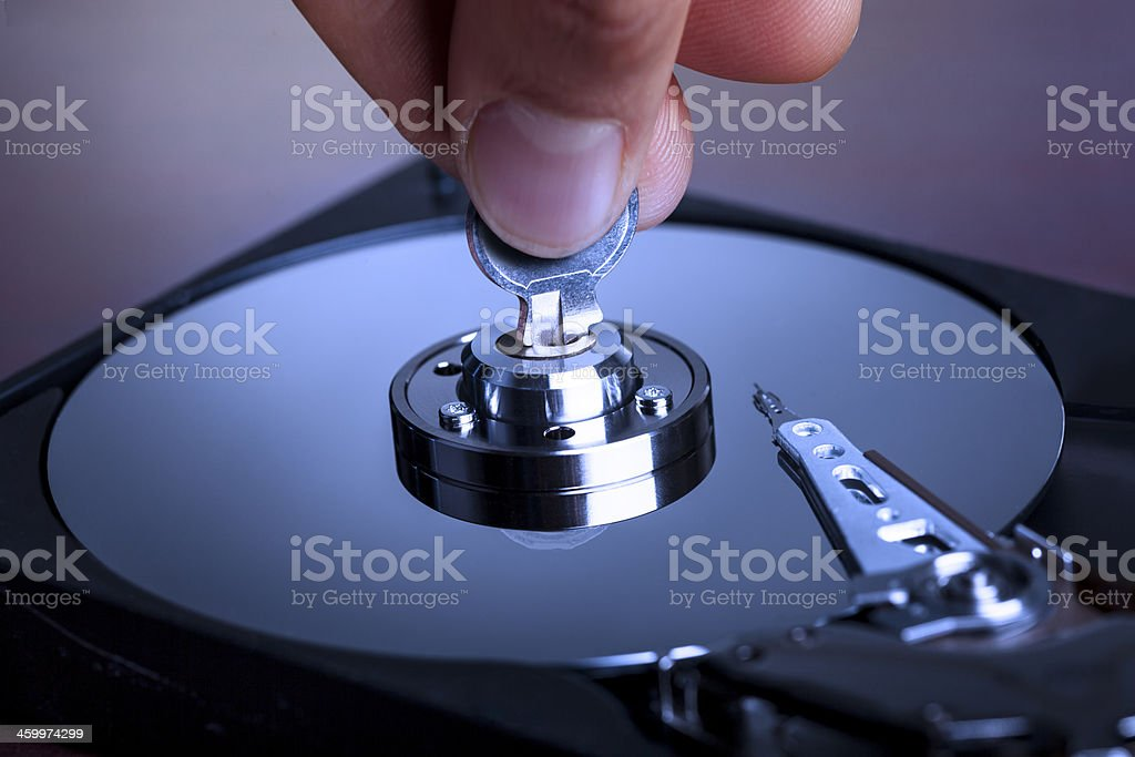 Lock/Unlock hard drive royalty-free stock photo
