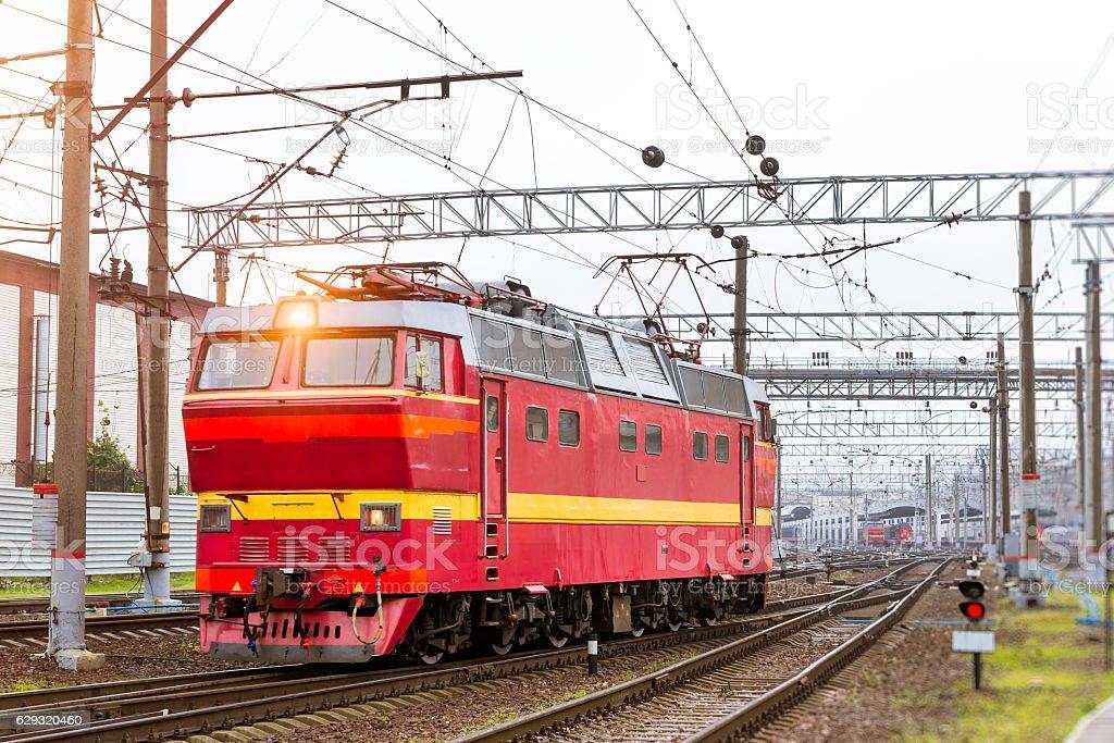 Locomotiv on railroad tracks, Russia stock photo