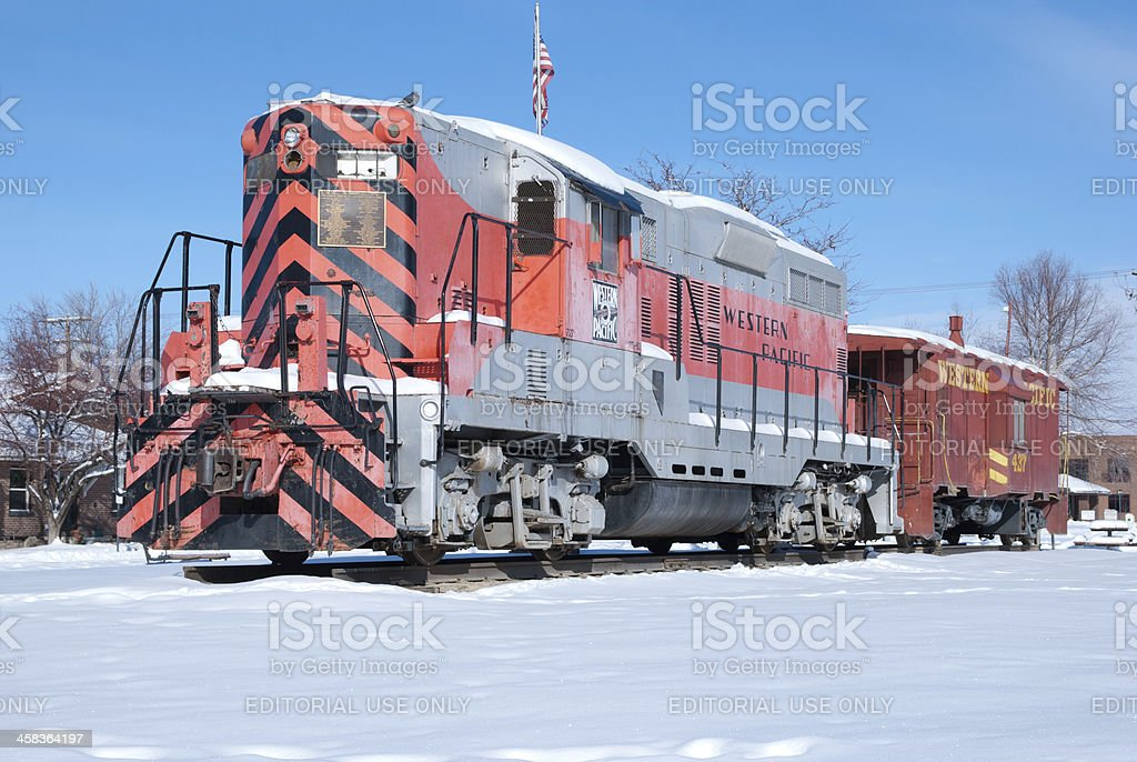 Locomotive and a Caboose stock photo