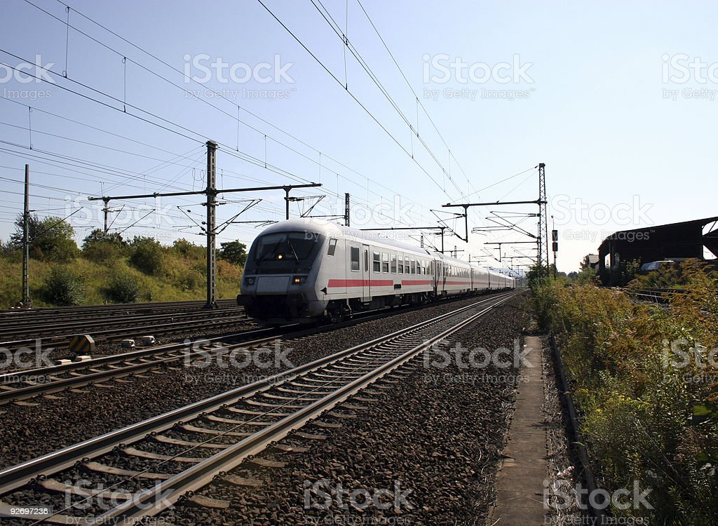 Lokomotive und fahrender Zug - Deutsche Bundesbahn stock photo