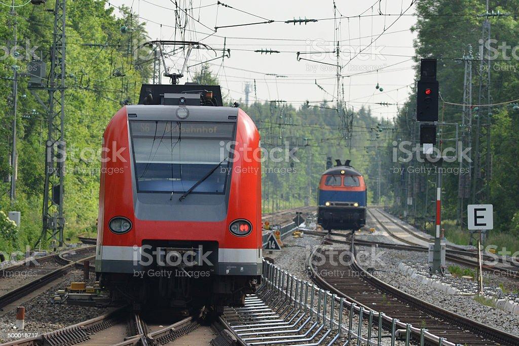 Locomotive and S-Bahn train stock photo