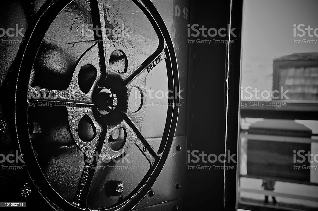 Locomotive brake wheel stock photo