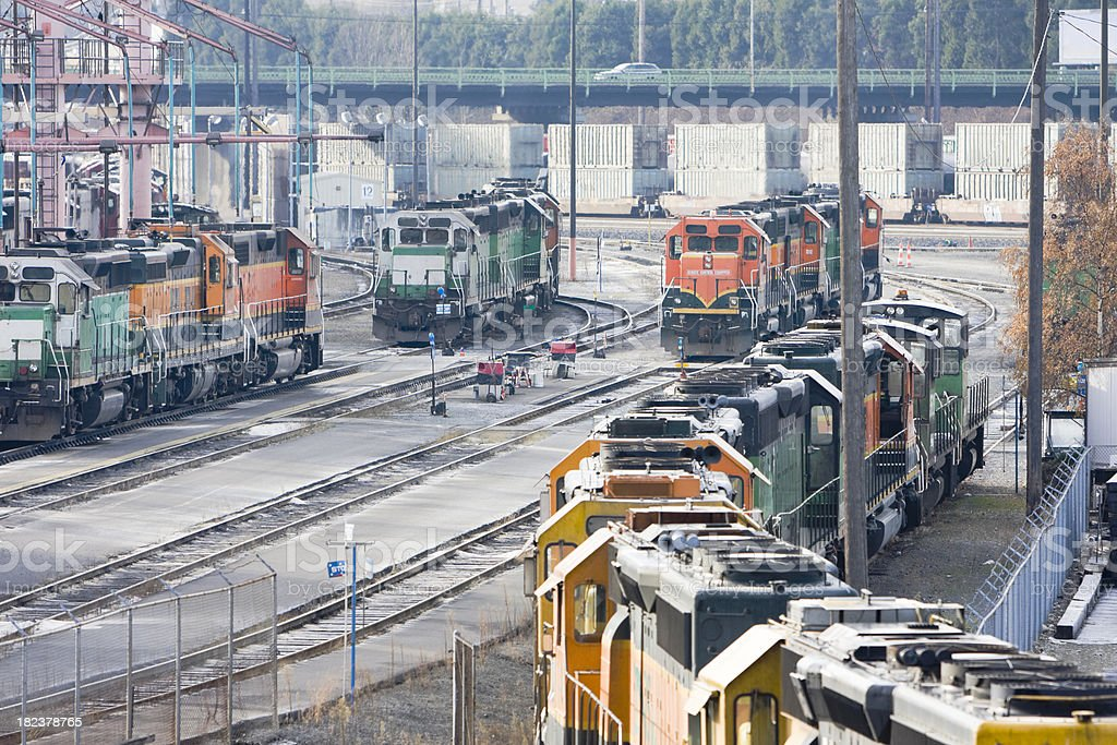 Locomotive Engines Refueling in the Freight Yard royalty-free stock photo
