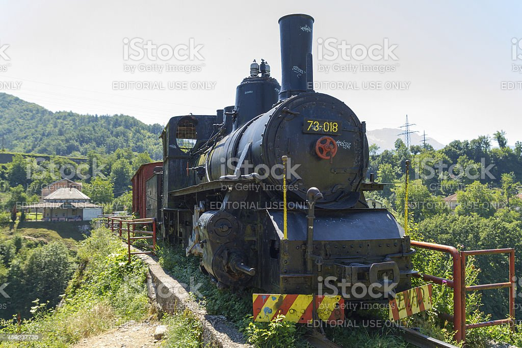 Locomotive monument stock photo