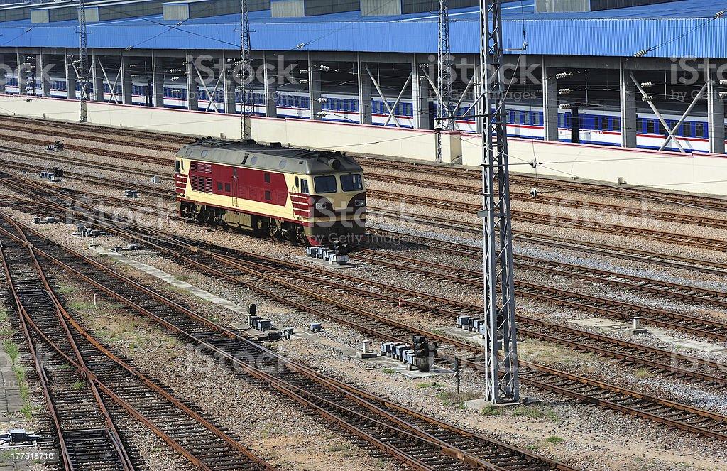 Locomotive on railway tracks royalty-free stock photo
