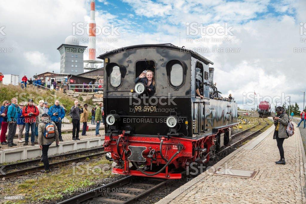 Locomotive on the Brockenbahn Harz Steam Railway (Brocken station, Germany). stock photo
