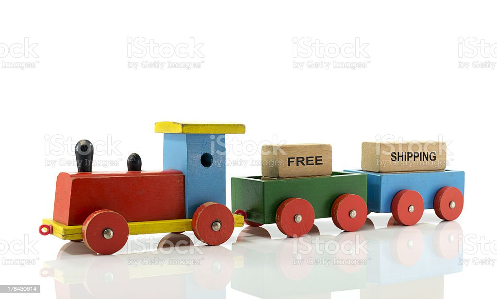 locomotive train with free shipping blocks royalty-free stock photo