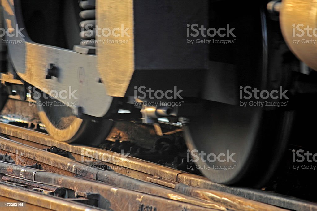 Locomotive wheel details with Shock absorbers, India stock photo