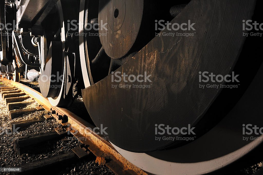Locomotive wheels stock photo