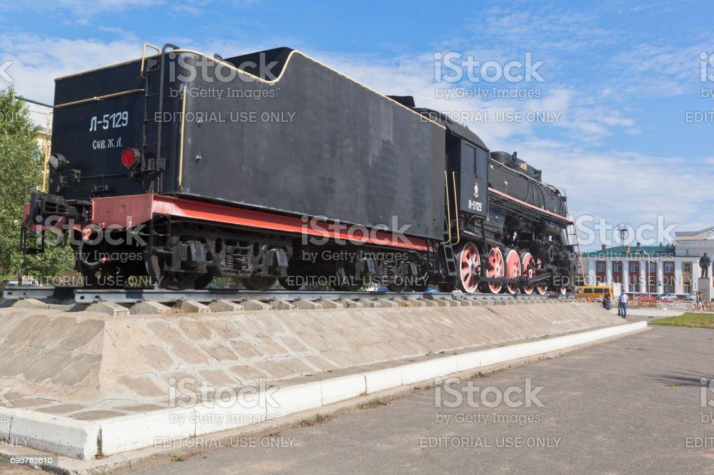 Locomotive-worker L-5129 at the station square in Kotlas, Arkhangelsk region stock photo