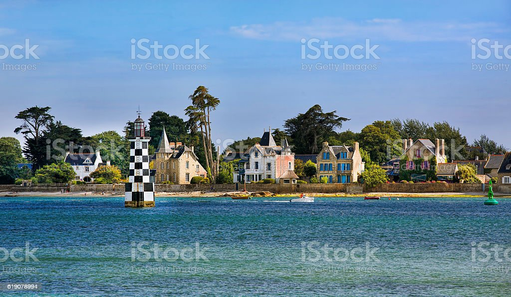 Loctudy as Seen from Ile-Tudy, Brittany stock photo