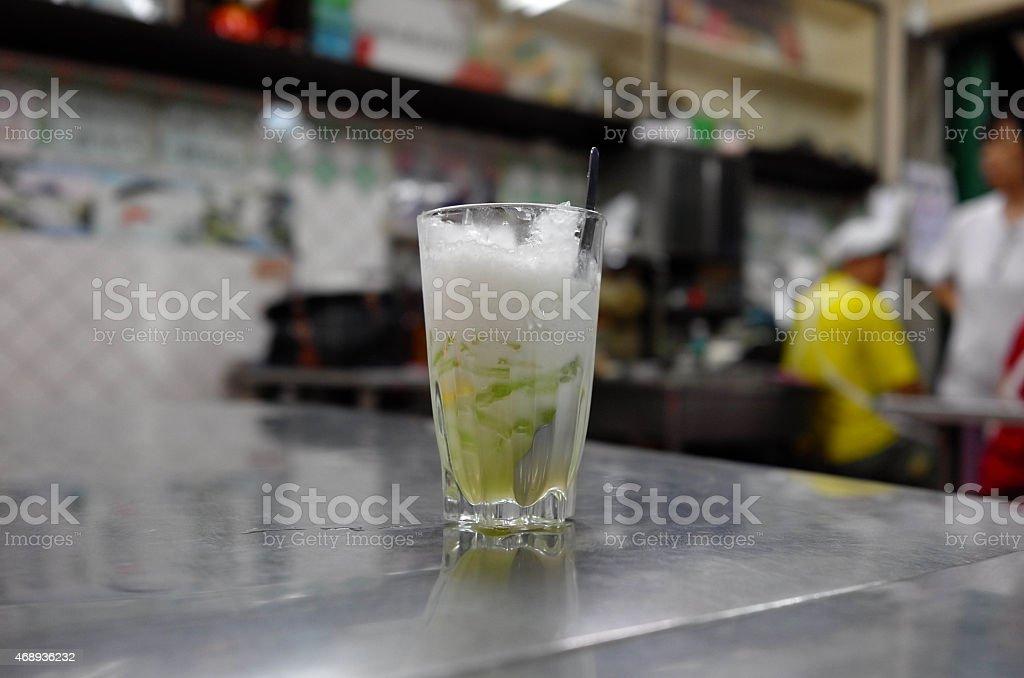 Lod chong, rice noodles dessert stock photo