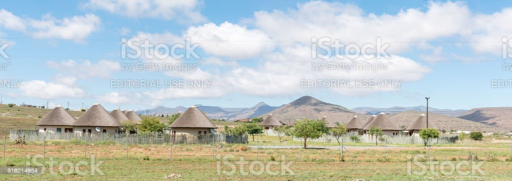Lodge built in the form of a cultural village stock photo