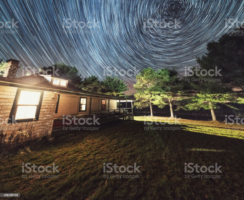 Lodge in the Stars stock photo